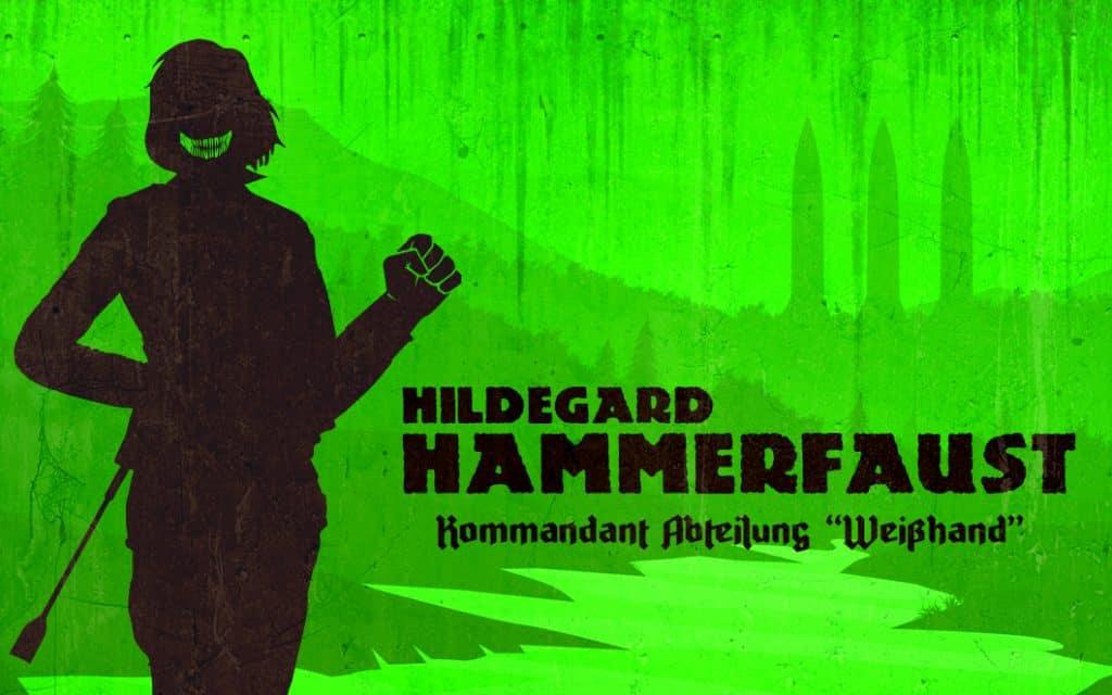 Hildegard Hammerfaust ist in Silhouette zu sehen, im Hintergrund ragen drei Raketen aus dem Wald.